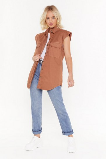 Womens Tan Push a Little Button Cargo Shirt