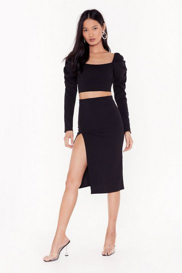 Womens Black Two Hot Two Handle Cropped Blouse and Midi Skirt Set