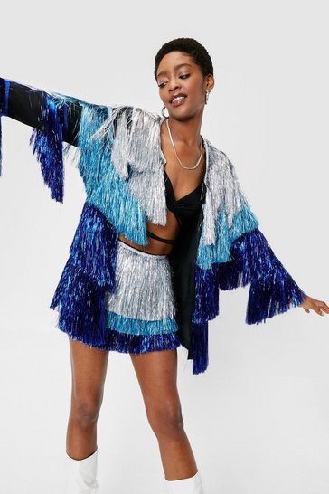 Blue Metallic Tiered Fringe Open Front Jacket