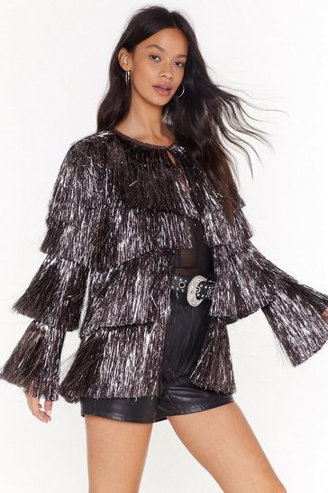 Womens Pewter Party Crasher Metallic Fringed Jacket