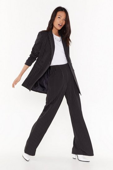 Womens Black Unfinished Business Pinstripe Wide-Leg Pants