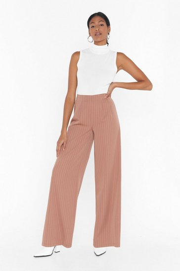 Camel Unfinished Business Pinstripe Wide-Leg Pants