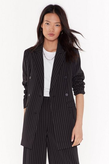 Womens Black Unfinished Business Pinstripe Double Breasted Blazer