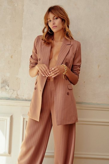 Womens Camel Unfinished Business Pinstripe Double Breasted Blazer