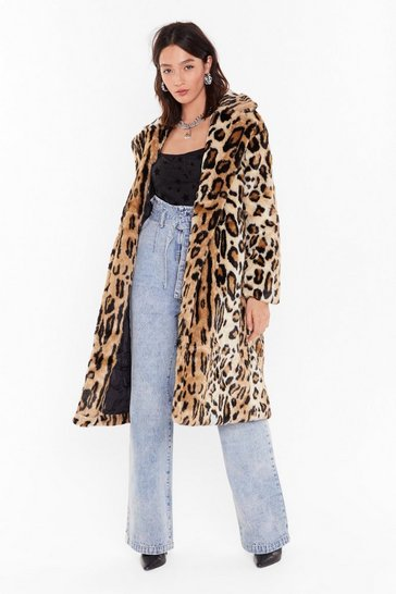 Womens Beige This is Your Meow-ment Faux Fur Leopard Coat