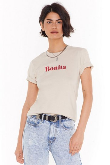 Womens Sand Hola Bonita Graphic Tee