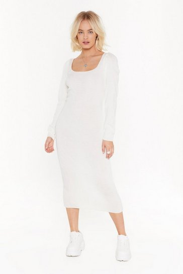 Womens Ecru puff sleeve knit midi dress