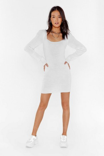 White Puff Love Square Neck Mini Dress
