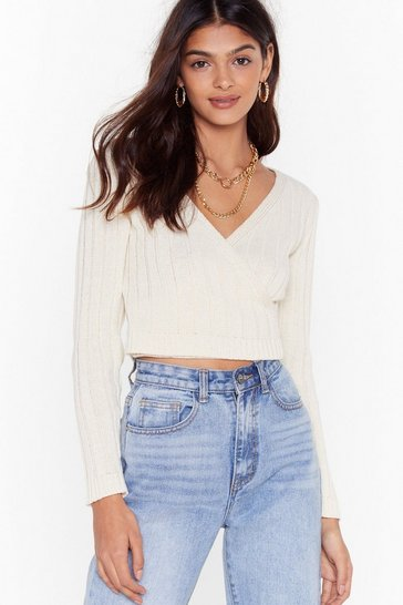 Ecru It's a Wrap Ribbed Knit Cropped Sweater