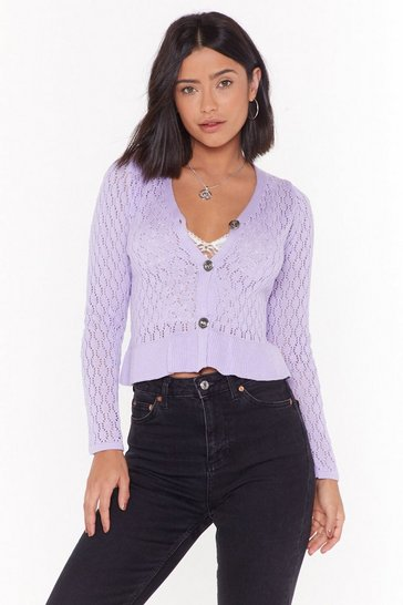 Lilac The Pointelle Deal Button-Down Cardigan