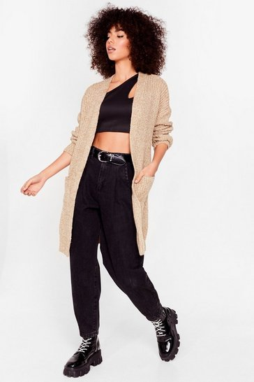 Womens Camel Knit Ain't Over Longline Cardigan