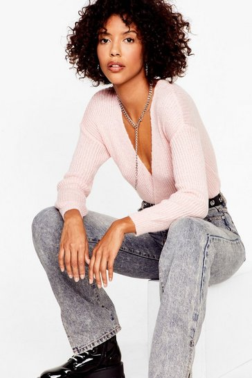 Rose pink Wrap of the World Plunging V-Neck Sweater