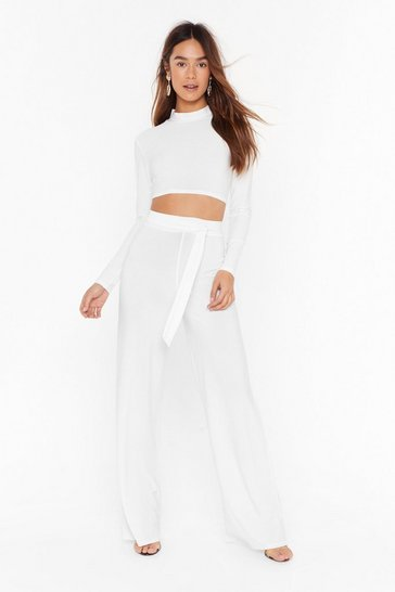 Womens Cream Love On Crop Top and Wide-Leg Pant Set