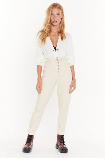 Womens Ecru Haven't Jean the Last of Me Button-Down Mom Jeans