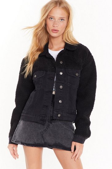 Womens Black Takes No Fur-suasion Faux Shearling Denim Jacket