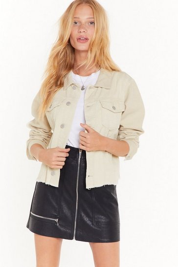 Womens Ecru Cut the Cord Denim Jacket