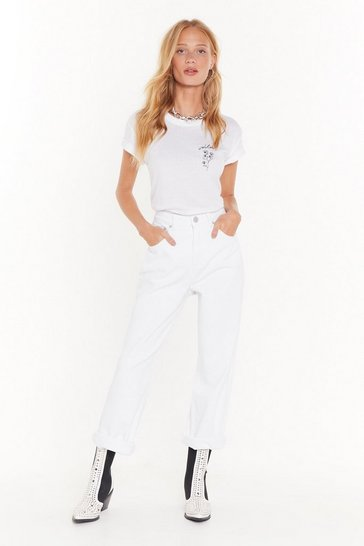 Womens White Searched Far and Wide-Leg Denim Jeans