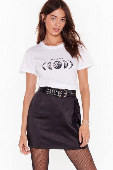 Womens White Fly Me to the Moon Graphic Tee