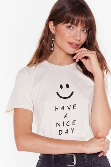 Womens Natural Have a Nice Day Graphic Tee