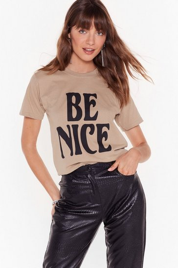Womens Sage You Better Be Nice Graphic Tee