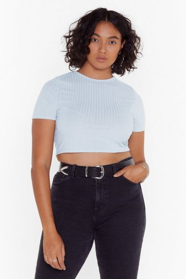 Womens Powder blue Plus Soft Rib Cropped Tee