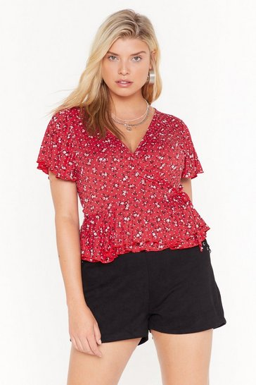 Womens Red Plant Fight This Feeling Floral Wrap Top