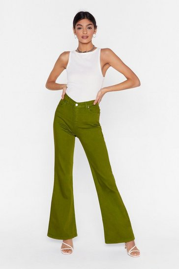Womens Olive As If We Flare High-Waisted Denim Jeans
