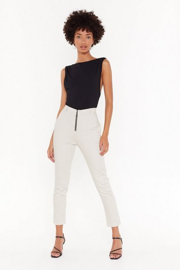 Womens Ecru You Said Zip High-Waisted Skinny Jeans