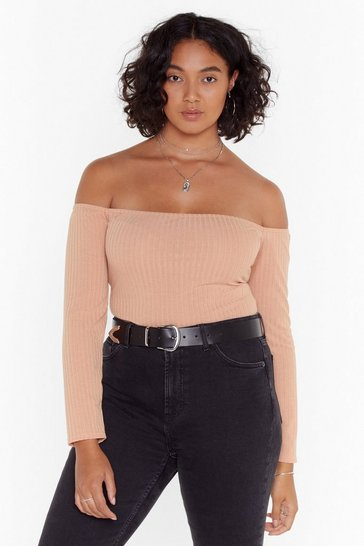 Camel On and Off-the-Shoulder Plus Ribbed Bodysuit