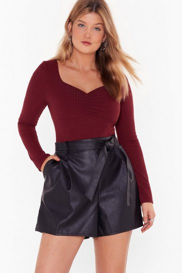 Burgundy Softly Spoken Ribbed Square Neck Plus Bodysuit