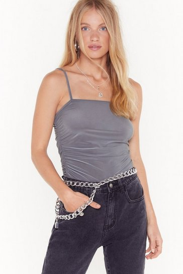 Slate Ruched My Buttons Square Neck Cami Top