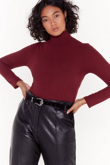 Burgundy They See Me Rollin' Plus Turtleneck Ribbed Bodysuit