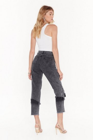Womens Black Rip It Up Cropped Mom Jeans