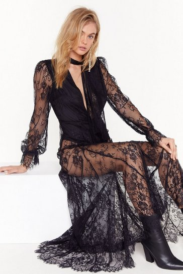 Womens Black Pink Silk and Coffee Lace Maxi Dress