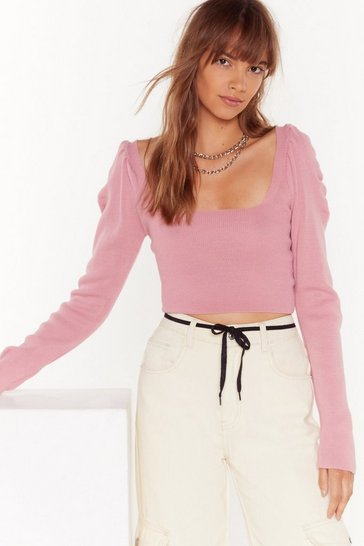 Womens Pink Some Like Knit Hot Puff Cropped Top
