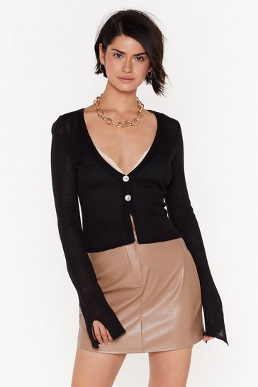 Womens Black Right Sheer Waiting Button-Down Cardigan