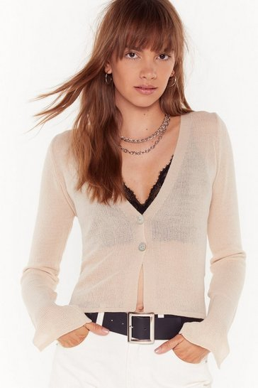 Womens Stone Right Sheer Waiting Button-Down Cardigan