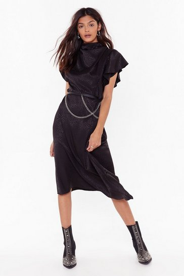Black She's a Real Wild Child Satin Midi Dress