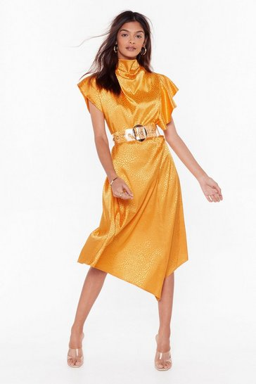 Mustard She's a Real Wild Child Satin Midi Dress