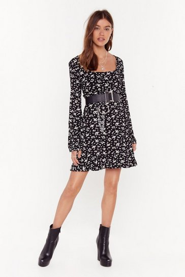 Womens Black Strutting My Puff Floral Mini Dress