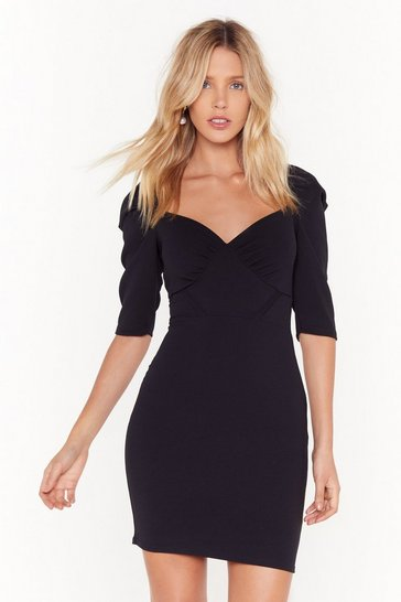 Womens Black Hot Puff Cupped Mini Dress