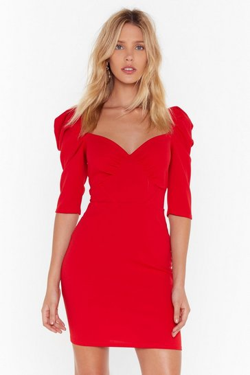 Red Hot Puff Cupped Mini Dress