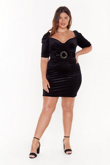 Womens Black Tempted to Touch Plus Velvet Dress
