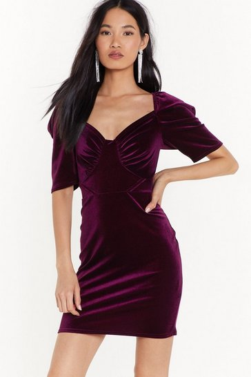 Womens Berry Tempted to Touch Velvet Mini Dress