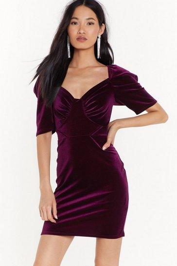 Berry Tempted to Touch Velvet Mini Dress