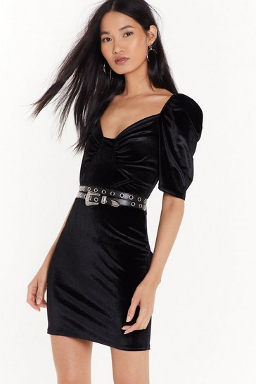 Womens Black Tempted to Touch Velvet Mini Dress