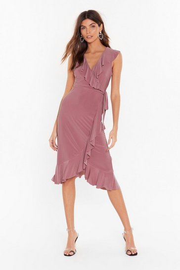 Womens Mauve No Tie Waisters Midi Dress