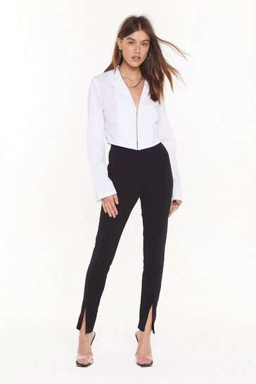 Womens Black Slit-ting Hairs High-Waisted Fitted Pants