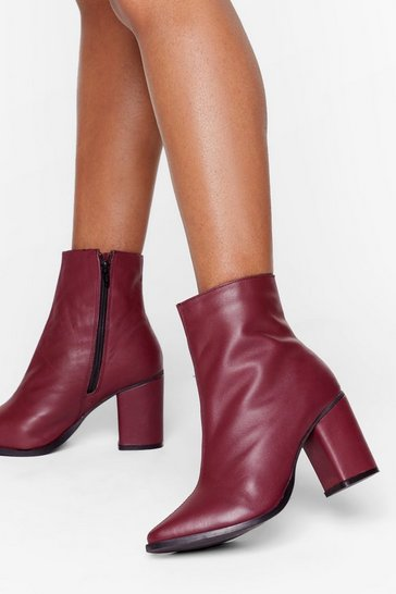 Womens Burgundy Leather You Like It Heeled Ankle Boots