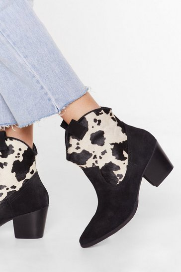Black Cow Does It Feel Suede Pony Hair Boots